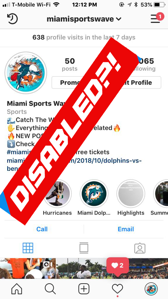 miamisportswave instagram disabled | Miami Sports Wave